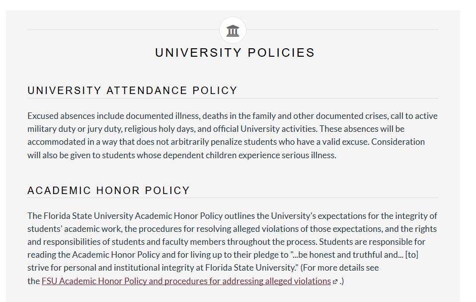Example image of University Policies block within Syllabus