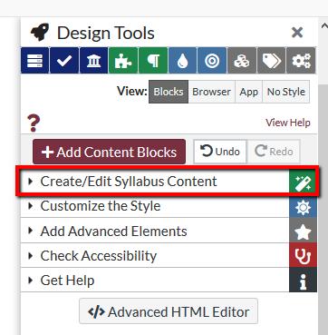 Location of Create/Edit Syllabus content