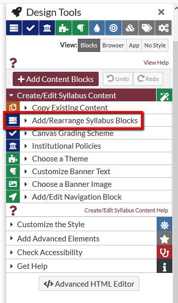 Location of Add/Rearrange Syllabus blocks