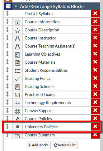 Location of University Policies row within content block area
