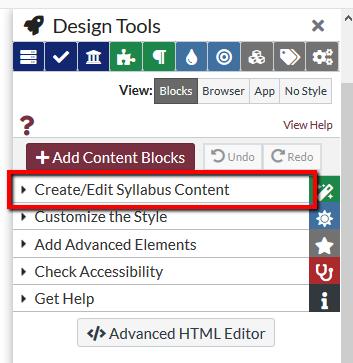Create/Edit Syllabus Content button location