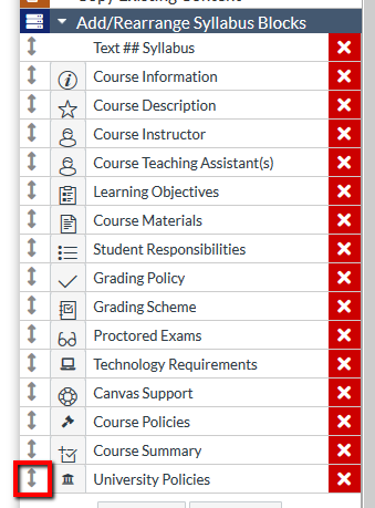 Location of arrow for moving content block within Syllabus