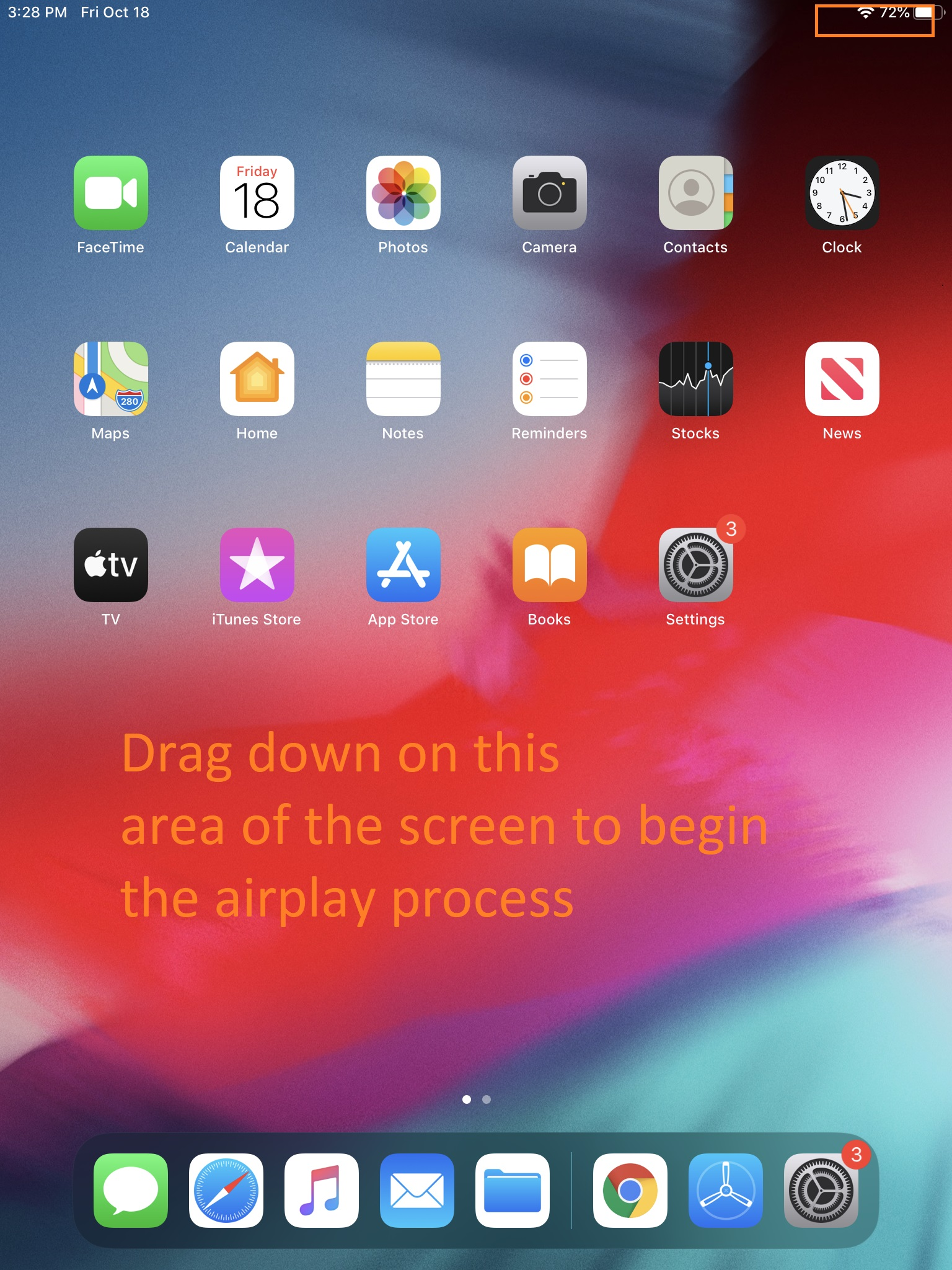 Ipad main screen. Upper right has a series of curved lines to show wi-fi. Text says to tap and drag down in this area.