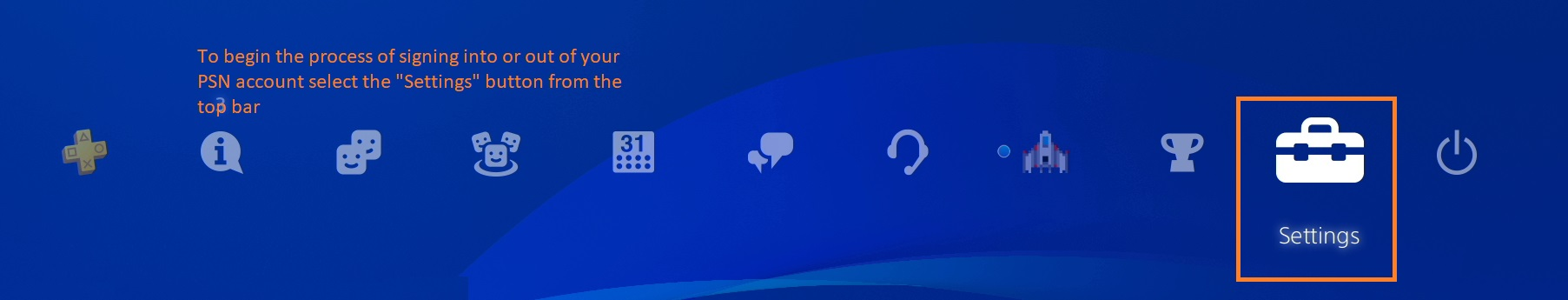 """Blue PSN home menu. """"Settings"""" is a white tool box icon on the far right, to the left of the power icon (circle with a line)."""