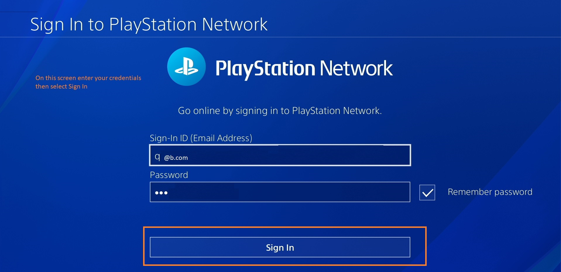 PS Network Sign In screen. Email address field, then password with checkbox at right to remember. Sign In button below.