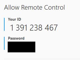 TeamViewer Partner ID & Password window.